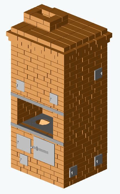Печь «Шведка» с камином конструкции А.И. Рязанкина-min