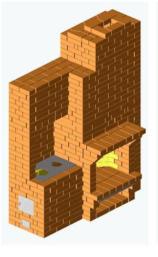 Проект отопительно-варочной печи с камином Е. Докторова.-min