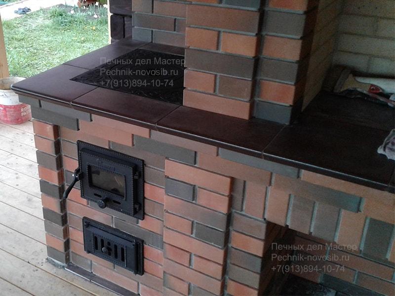 печь мангал гриль барбекю с казаном из кирпича фото