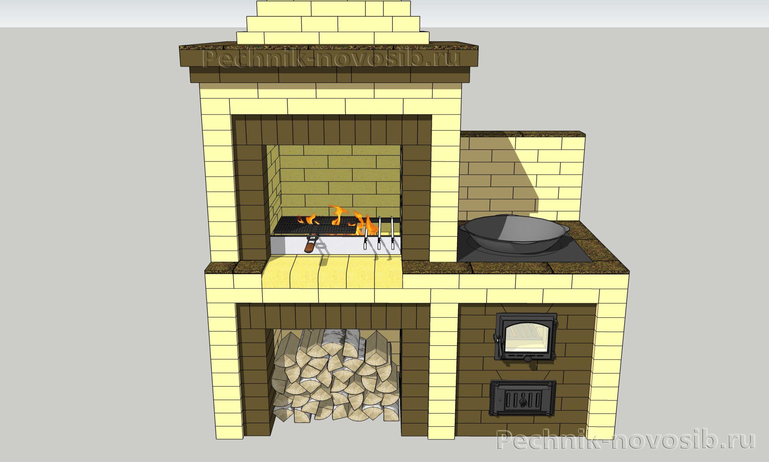 как построить печь мангал своими руками с порядовкой